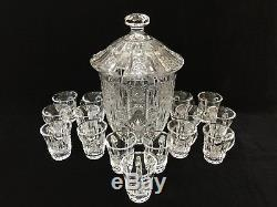 Stunning Vintage Cut Crystal Glass Punch Bowl with Lid & 15 Matching Cups