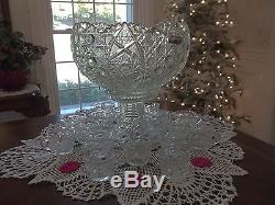 Stunning Vintage Huge Punch Bowl 16 Matching Cups High Rise Base + Silver Ladle