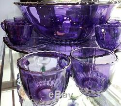 Sun Purple Punch Bowl with Under Plate and 12 Cups