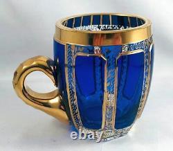 Superb Moser Cobalt Blue & Gold Cabochon Bohemian Punch Bowl +12 Cups Rare & EXC