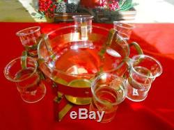 Swedish Copper Glogg Punch Bowl & Glasses For Hot Drinks From Sweden Nils Johan