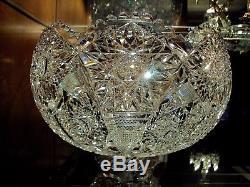 T. B Clark Cut Glass Co. El Tova 12 Two Piece Punch Bowl /American Brilliant