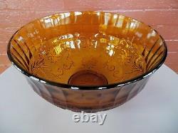 Tiara Indiana Glass Amber Sandwich Punch Bowl & Ladle & Cups & Hooks 26 pc Set
