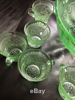 Tiara chantilly green Punch Bowl & 12 Cups