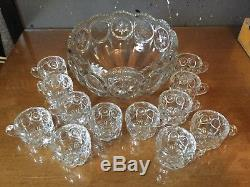 Tiffin-Franciscan Moon & Stars Pattern Punch Bowl with 12 Cups