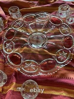 Tiffin Franciscan Moon Stars Ruby Red Flash Punch Bowl 18 Cups Underplate