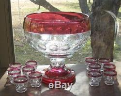 Tiffin Kings Crown Ruby Flash 16 Punch Bowl, 7.5 Base, 12 Punch Cups Evc, Htf