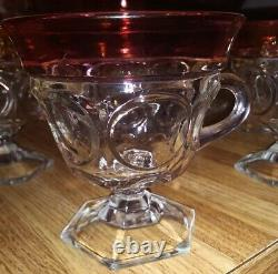 Tiffin Kings Crown Ruby Red Flash Thumbprint Punch Bowl & 12 Footed Glasses Set
