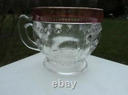 Tiffin True King's Crown Cranberry Flash Punch Bowl And Cups