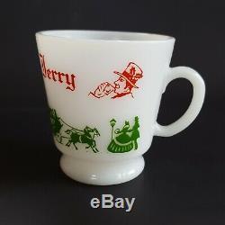 Tom & Jerry Egg Nog Punch Bowl Set Hazel Atlas Milk Glass 6 Cups Holiday Vintage