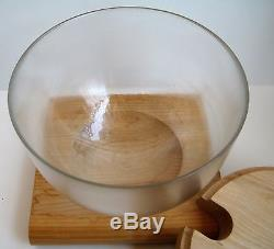Unique MID Century Amboss Austria Glass Punch Bowl With Ladle, LID And Base