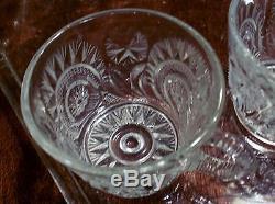 US Glass SLEWED HORSESHOE Punch Bowl COMPLETE PLUS Set = 27 pcs SALE