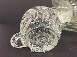 US Glass Slewed Horseshoe Radiant Daisy Pinwheel Punch Bowl Set with 12 Cups
