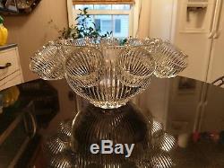 Uber Rare Antique 12 Cup Punch Bowl Set