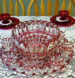 Ultra Rare Fab Cond Indiana Glass Ruby Flashed Punch Bowl Set #1007 + 12 Cups