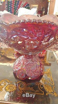 VERY RARE Westmoreland Ruby Carnival Buzz Saw Punch Bowl, Pedestal + 12 Cups