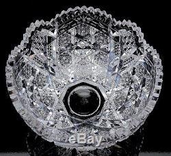 VFINE 2pc AMERICAN BRILLIANT PERIOD ABP CUT GLASS CENTERPIECE PUNCH SERVING BOWL