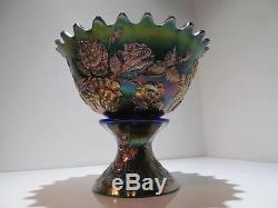 VINT. FENTON COBALT CARNIVAL GLASS PUNCH BOWL WREATH OF ROSES PERSIAN MEDALLION