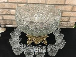VINTAGE 14 PIECE SET L. E. SMITH GLASS DAISY BUTTON LARGE CLEAR PUNCH BOWL Stand