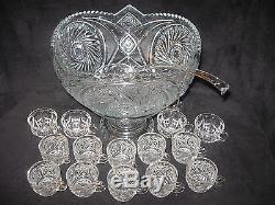 Vintage 1945 Crystal Cut Glass Punch Bowl, Base Pedestal, Glass Ladle & 15 Cups