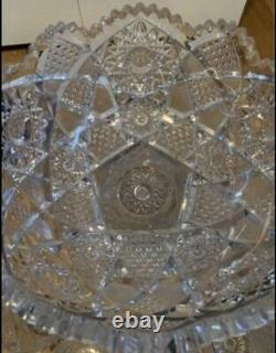 VINTAGE 1950s BRILLIANT CUT GLASS 2 PART PUNCH BOWL WITH SET 5 MATCHING CUPS