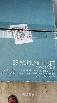 VINTAGE ANCHOR HOCKING 39 PC GLASS PUNCH BOWL SET SERVICE FOR 18 Wexford DESIGN
