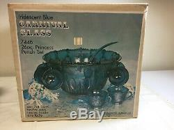 VINTAGE BLUE CARNIVAL INDIANA GLASS GRAPE PUNCH BOWL SET 16 Cups Ladle Hooks