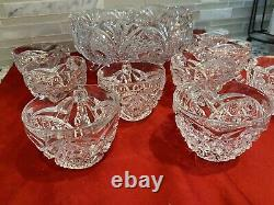 VINTAGE-CRYSTAL Footed DAISY & BUTTON PUNCH BOWL SET 9 CUPS