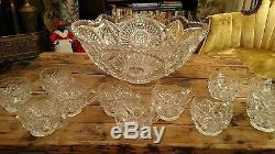Vintage Crystal Glass Cut Punch Bowl With Cups
