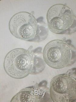 VINTAGE CUT GLASS CRYSTAL PUNCH BOWL with 12 CUPS AND LADLE