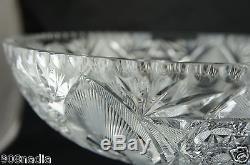 Vintage Cut Glass Or Crystal Punch Bowl On Pedestal Arch & Starburst Pattern