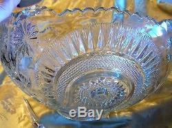 Vintage Eapg Glass Punch Bowl-16 Pc-14 Cups-glass Ladle-elegant Party Set