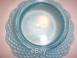 VINTAGE FENTON BLUE OPALESCENT HOBNAIL GLASS PUNCH BOWL SET