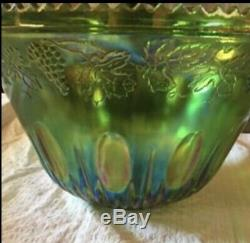 VINTAGE INDIANA GLASS GREEN CARNIVAL PRINCESS PUNCH BOWL SET NEW In Box