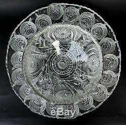 VINTAGE L E Smith Glass Slewed Horseshoe Punch Bowl+Under Plate+18 Cups