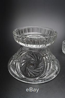 VINTAGE MCKEE PUNCH BOWL/STAND/12 CUPS/LADLE/HOOKS IN THE AZTEC PATTERN