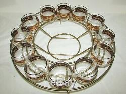 VINTAGE MCM CULVER PUNCH BOWL & 12 CUPS & LADLE & STAND Gold Trim Glass