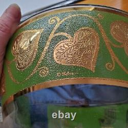 VINTAGE MID-CENTURY RARE CULVER HEARTS Green with Gold Trim PUNCH BOWL SET