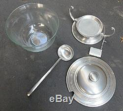VINTAGE QUEEN ART BROOKLYN PEWTER GLASS PUNCH BOWL wLADLE DRIP BASE wHANDLES