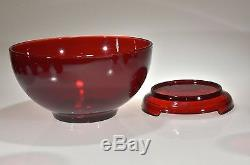 VINTAGE ROYAL RUBY Anchor Hocking PUNCH BOWL SET Bowl, Stand, 12 Cups & Ladle