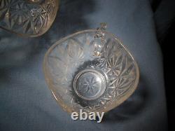 VINTAGE Square Starbursts Pattern- Crystal Punch Bowl, 8 Cups & hooks- 1960's