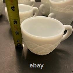 VNTG 1950 Thatcher McKee White Milk Glass Punch Bowl Set with 12 Cups Gorgeous