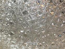 VTG 80s Yasemin Crystal Russian Pattern 12 Hand Cut Glass Lidded Punch Bowl