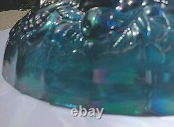 VTG. AQUA Blue Leafs & Large Grapes iridescence footed Oval punch bowl Indiana