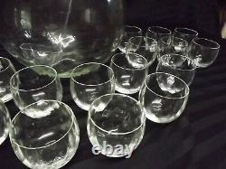 VTG Diamond Optic West Virginia Glass Punch bowl Ladle & 20 Roly Poly Glasses