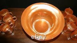 VTG FIRE KING EGG NOG PEACH LUSTER Punch Bowl Set 14 pieces NM