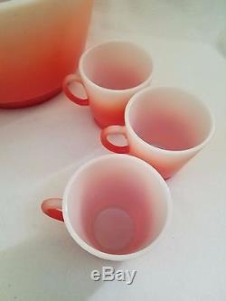 VTG Hazel Atlas Pink Flamingo Punch Bowl Set 11 Mugs Cups Coral White RARE
