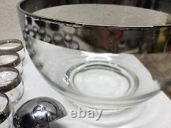 VTG MCM Dorothy Thorpe Silver Band Punch Bowl 20 Roly Poly Cups Ladle