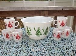 VTG MINT Hazel Atlas Christmas Tree Punch Bowl Egg Nog Set with6 Mugs