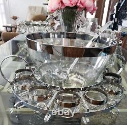 VTG ROLY POLY Dorothy Thorpe 15 pc Silver Punch Bowl/Glasses, Metal Caddy Ladle